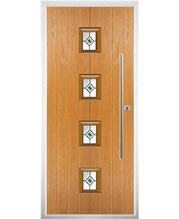 The Leicester Composite Door in Oak with Green Fusion Ellipse