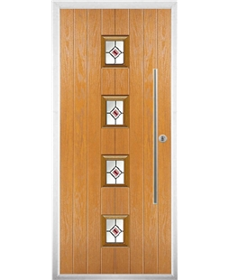 The Leicester Composite Door in Oak with Red Fusion Ellipse