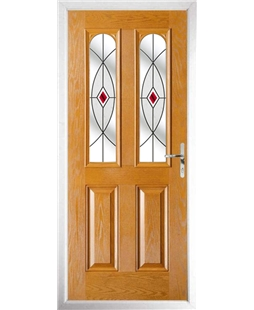 The Aberdeen Composite Door in Oak with Red Fusion Ellipse