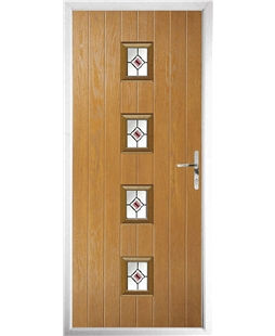 The Uttoxeter Composite Door in Oak with Red Fusion Ellipse