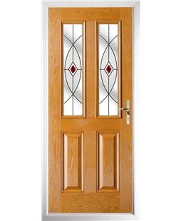 The Cardiff Composite Door in Oak with Red Fusion Ellipse