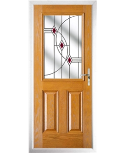 The Farnborough Composite Door in Oak with Red Fusion Ellipse
