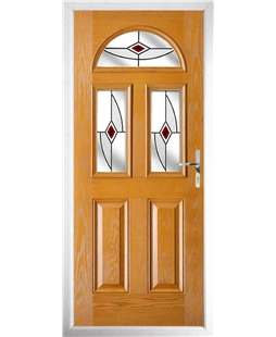 The Glasgow Composite Door in Oak with Red Fusion Ellipse