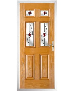 The Oxford Composite Door in Oak with Red Fusion Ellipse