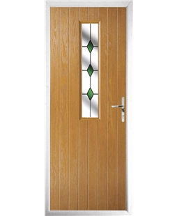 The Sheffield Composite Door in Oak with Green Diamonds