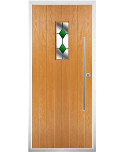 The Zetland Composite Door in Oak with Green Diamonds