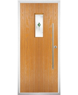The Zetland Composite Door in Oak with Green Murano