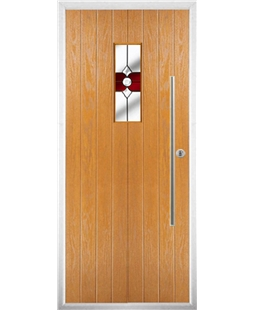 The Zetland Composite Door in Oak with Red Crystal Bohemia