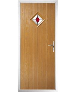 The Reading Composite Door in Oak with Red Diamond