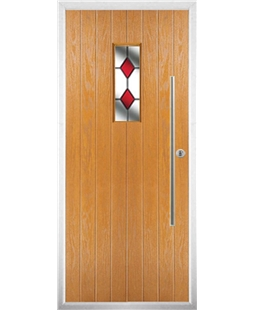 The Zetland Composite Door in Oak with Red Diamonds