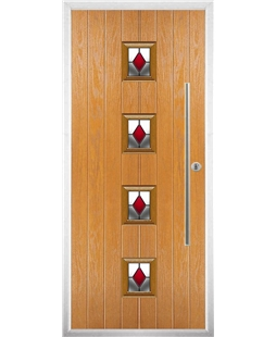 The Leicester Composite Door in Oak with Red Diamonds