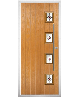 The Norwich Composite Door in Oak with Red Fusion Ellipse
