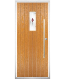 The Zetland Composite Door in Oak with Red Murano
