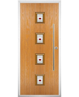 The Leicester Composite Door in Oak with Red Murano