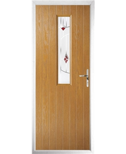 The Sheffield Composite Door in Oak with Red Murano