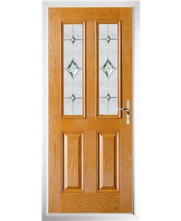 The Cardiff Composite Door in Oak with Crystal Diamond