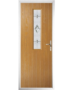 The Sheffield Composite Door in Oak with Crystal Diamond