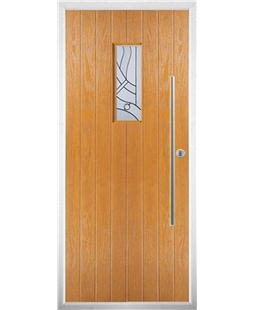 The Zetland Composite Door in Oak with Zinc Art Abstract