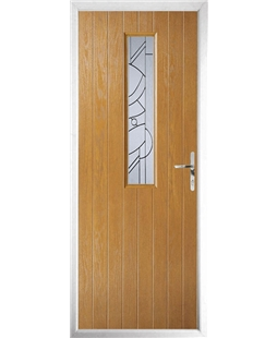 The Sheffield Composite Door in Oak with Zinc Art Abstract