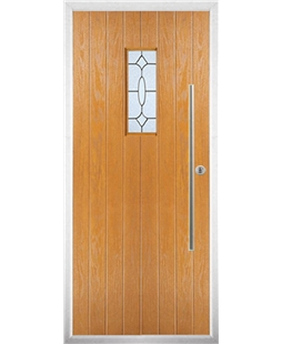 The Zetland Composite Door in Oak with Zinc Art Clarity