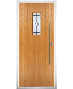 The Zetland Composite Door in Oak with Zinc Art Elegance