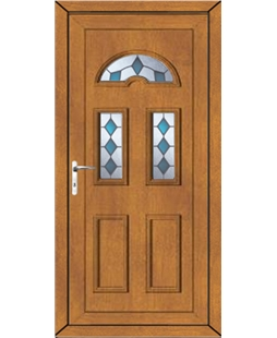 Brighton Blue Jewel uPVC Door In Oak