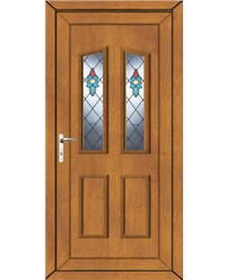 Doncaster Bell Flower uPVC High Security Door In Oak