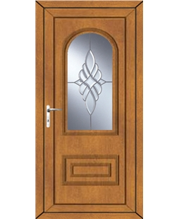 Epsom Bevel Cluster uPVC High Security Door In Oak