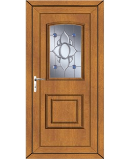 Fareham Blue Orbit uPVC Door In Oak