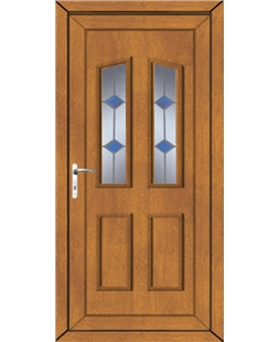 Doncaster Blue Stud uPVC High Security Door In Oak