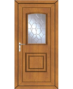 Fareham Clear Crystal uPVC High Security Door In Oak