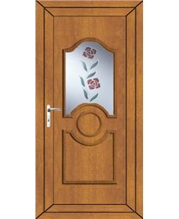 Johnstone Clear Resin Rose uPVC Door In Oak