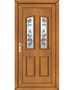 Doncaster Climbing Rose uPVC High Security Door In Oak