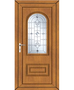 Epsom Crystal Shimmer uPVC Door In Oak