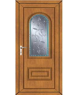 Epsom Diamond Green Border uPVC High Security Door In Oak