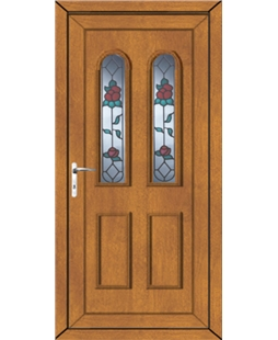 Northampton Queen Anne Rose uPVC Door In Oak