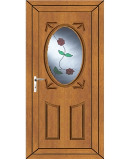 Stoke Rambling Rose uPVC Door In Oak