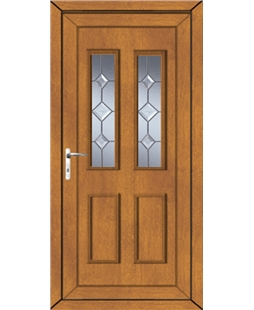 Irvine Star Cut Bevel uPVC Door In Oak
