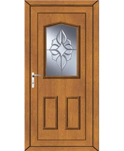 Oswestry China Cluster uPVC High Security Door In Oak