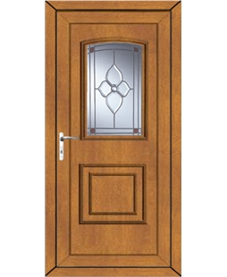 Fareham Crystal Pearl uPVC Door In Oak