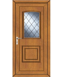 Fareham Diamond Lead uPVC Door In Oak