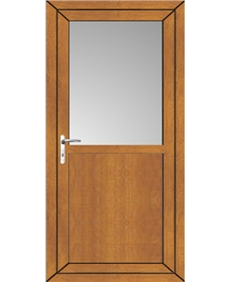 Kirkcaldy Half Flat Panel uPVC High Security Back Door In Oak