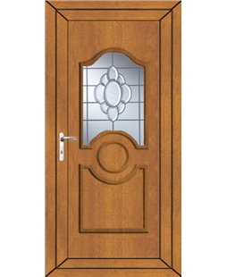 Johnstone Glue Chip Bevel uPVC Door In Oak