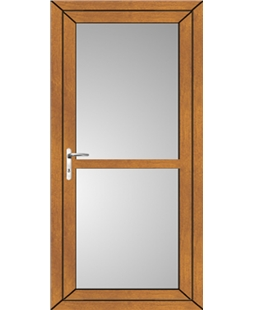 Full Glass uPVC High Security Back Door with Midrail In Oak