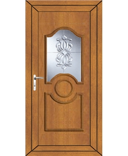 Johnstone Oxford Crystal uPVC Door In Oak