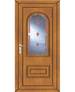 Epsom Red Diamond uPVC Door In Oak