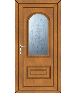 Epsom Rose Sandblast uPVC High Security Door In Oak