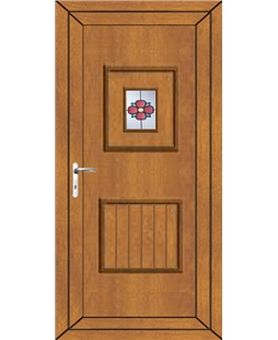 Luton Rosette uPVC Door In Oak
