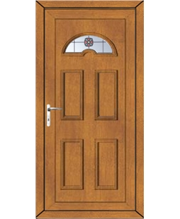 Brighton Victorian Bevel uPVC High Security Door In Oak