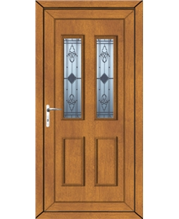 Irvine Sandblast Bevel uPVC Door In Oak